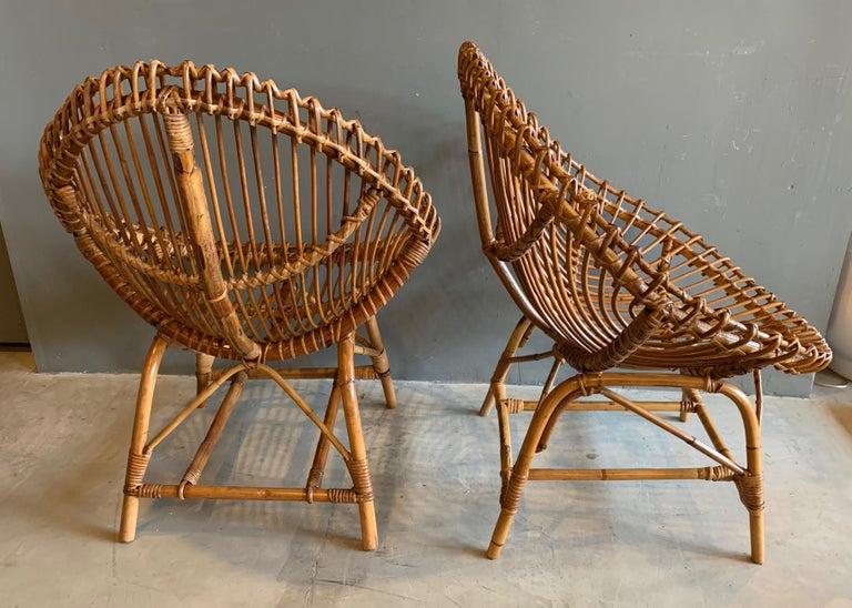 Pair of Sculptural Rattan and Bamboo Chairs In Good Condition For Sale In Los Angeles, CA