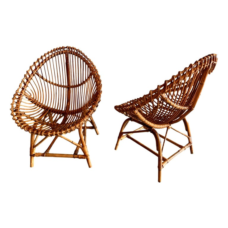 Pair of Sculptural Rattan and Bamboo Chairs For Sale