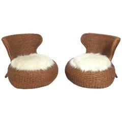 Pair of Sculptural Rattan Chairs