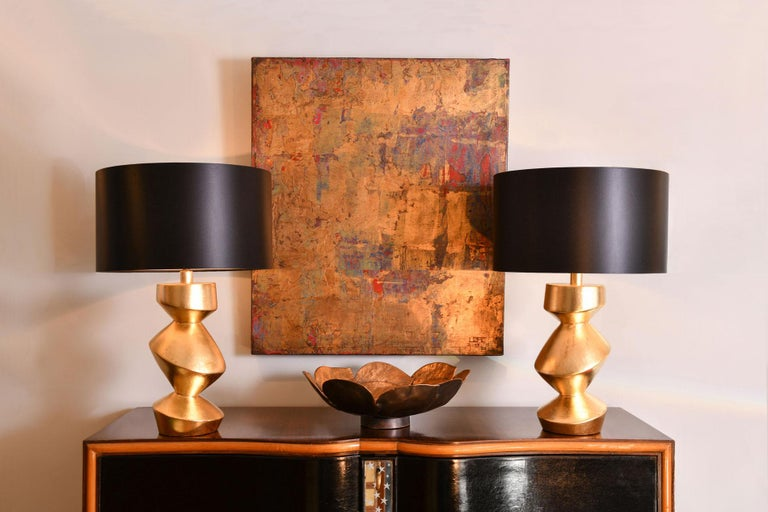 Art Deco Pair of Sculptural 'Savoy' Gold Gilt Table Lamps For Sale