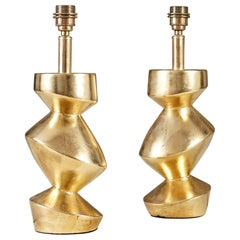 Pair of Sculptural 'Savoy' Gold Leaf Table Lamps