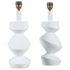 Pair of Sculptural 'Savoy' White Plaster Table Lamps