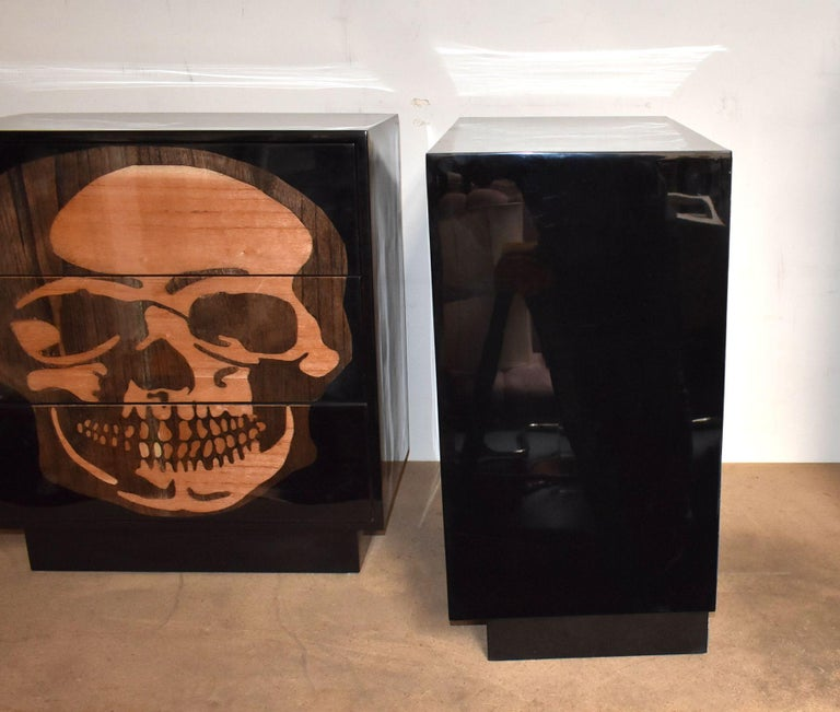 Pair of Sculptural Skull Commodes For Sale 4