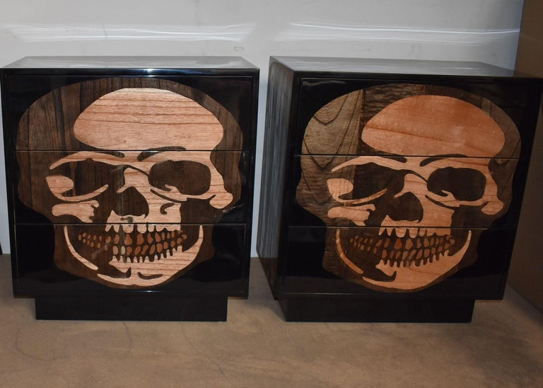 American Pair of Sculptural Skull Commodes For Sale