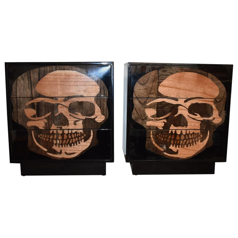 Pair of Sculptural Skull Commodes For Sale