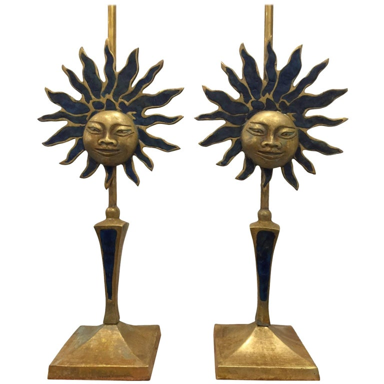 Pair of Sculptural Sun Lamps by Pepe Mendoza