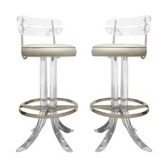 Pair of Sculptural Swivel Bar Stools in Lucite, 1970s