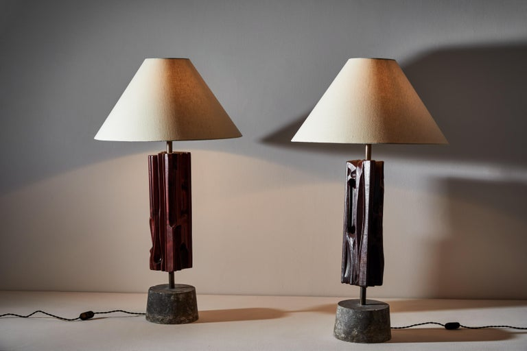Italian Pair of Sculptural Table Lamps by Yasuo Fuke For Sale