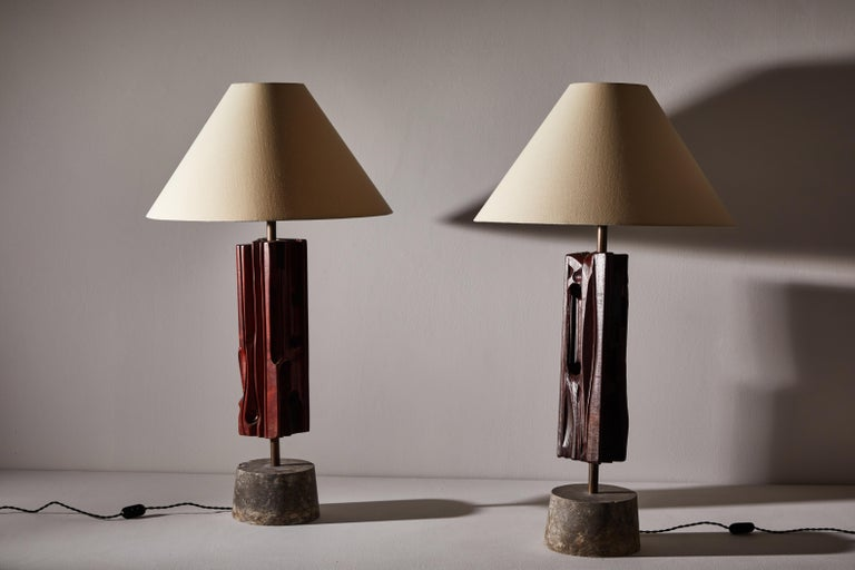 Pair of Sculptural Table Lamps by Yasuo Fuke In Good Condition For Sale In Los Angeles, CA
