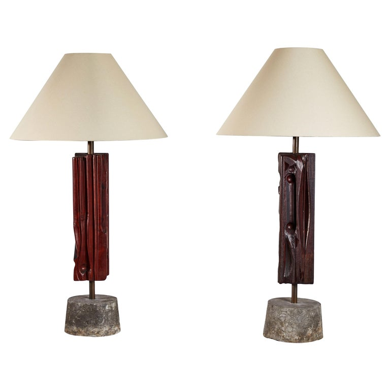 Pair of Sculptural Table Lamps by Yasuo Fuke For Sale
