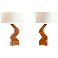 Pair of Sculptural Table Lamps in Lamellar Wood, France, 1970s