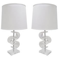 Pair of Sculptural Table Lamps in Lucite, 1970s