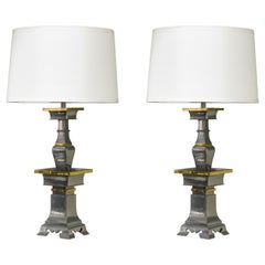 Pair of Sculptural Table Lamps in Pewter and Brass, 1960s
