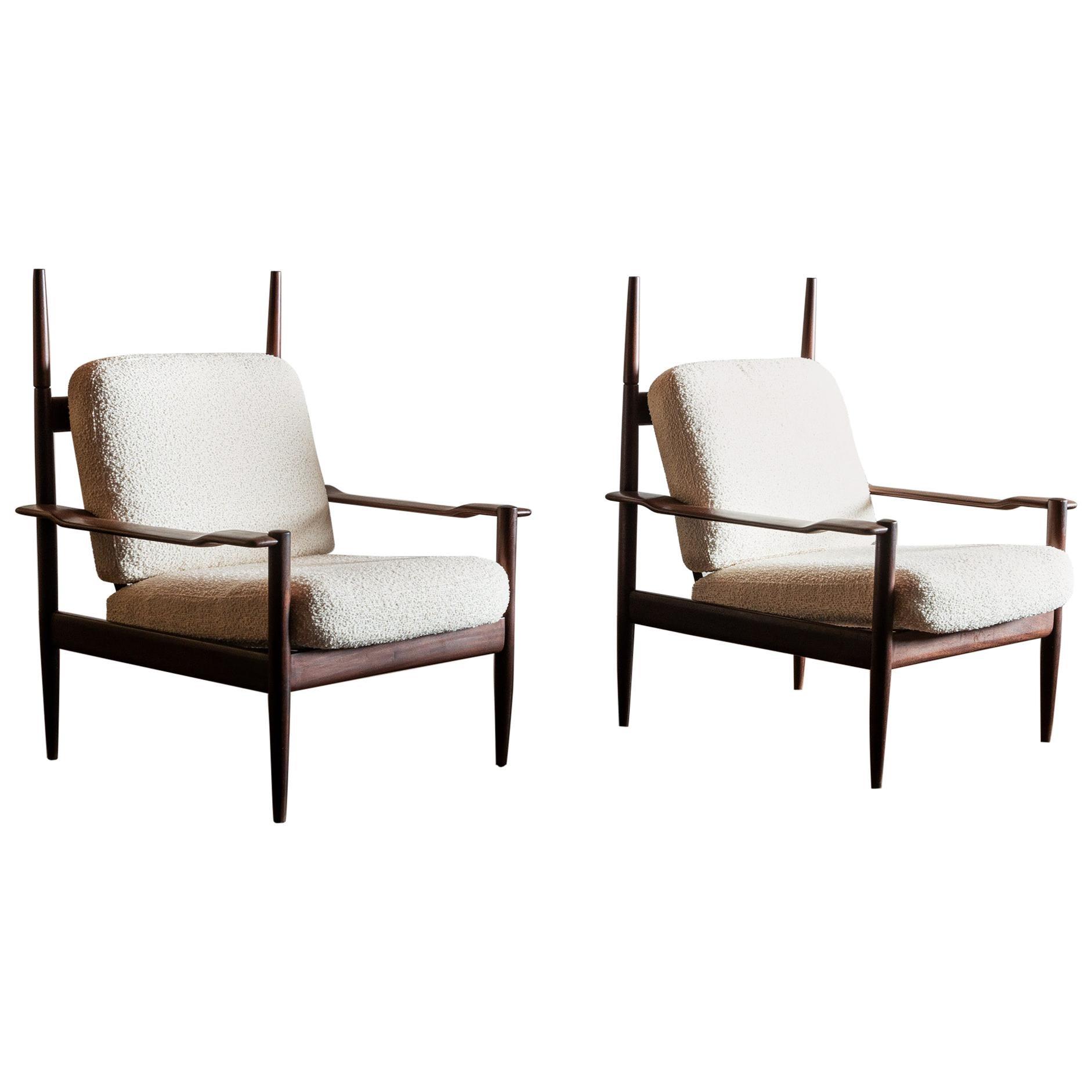 Pair of Sculptural Teak Brazilian Chairs, 1960s