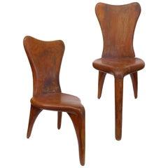 Pair of Sculptural Three-Legged Chairs