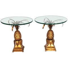 Pair of Sculptural Tole Gold Gilt Pineapple Side Tables