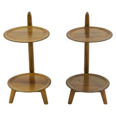 Pair of Sculptural Two-Tier Side Tables in Teak Danish Midcentury