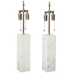 Pair of Sculptural Vintage Calacatta Marble Lamps