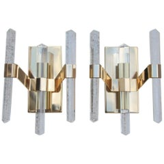 Pair of Sculptural Wall Sconces 1970 Gold Metal Sciolari