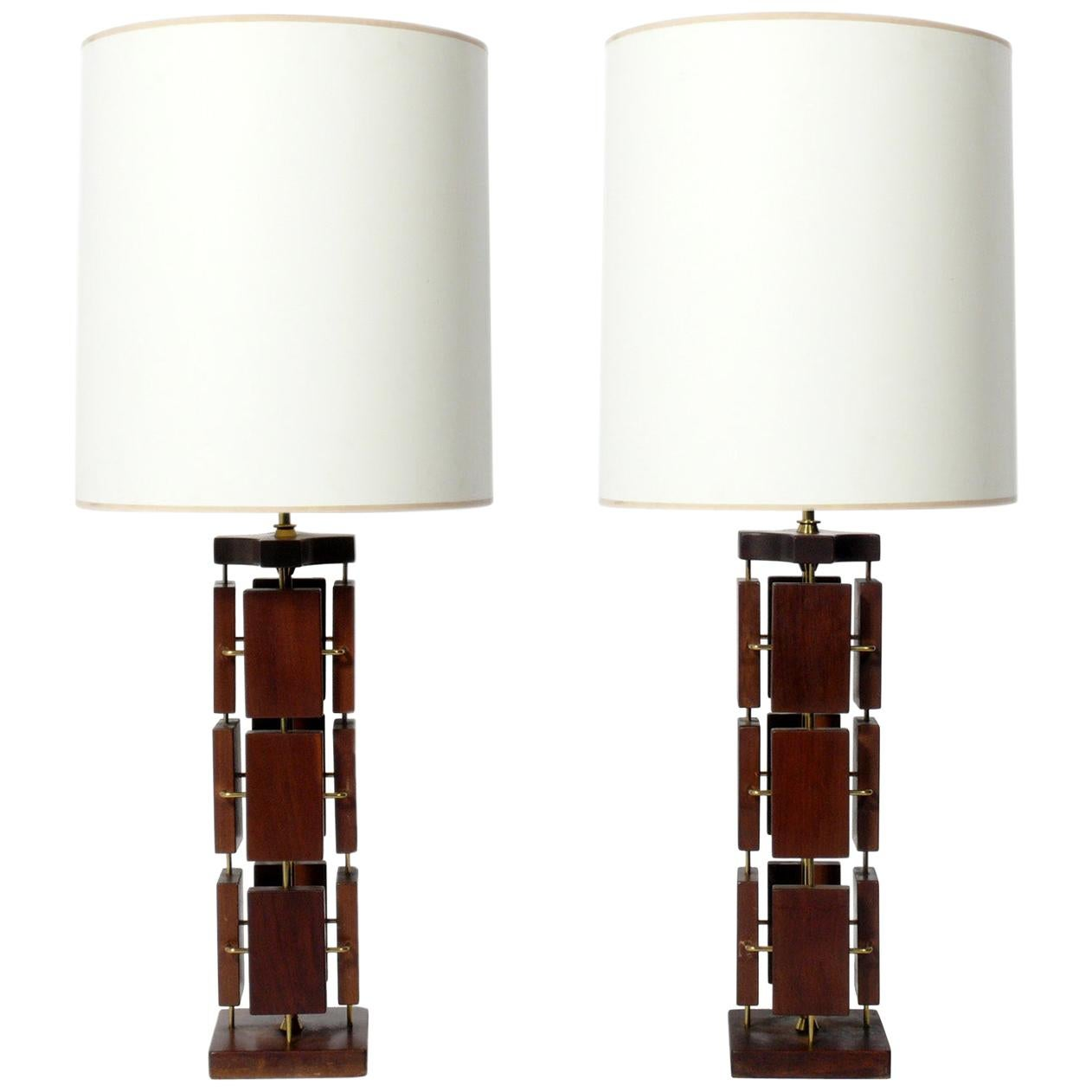 Pair of Sculptural Walnut and Brass Mid-Century Modern Lamps