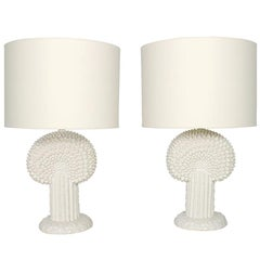Pair of Sculptural White Ceramic Lamps