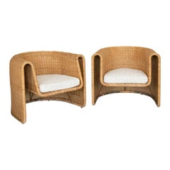 Pair of Sculptural Wicker Chairs