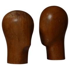 Pair of Sculptural Wooden Heads