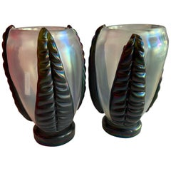 Pair of Sculpture Iridescent Murano Glass Vases Signed by Costantini