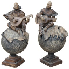 "Pair of Sculptures ""Guitar and Mandolin Players"" by Cheryl Chase"