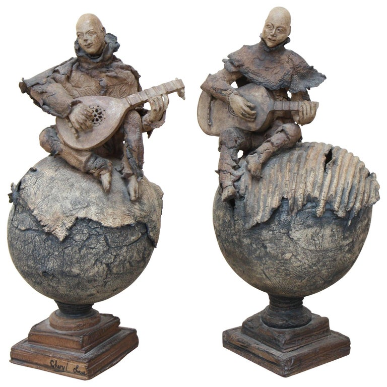"""Pair of Sculptures """"Guitar and Mandolin Players"""" by Cheryl Chase For Sale"""