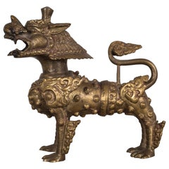 Pair of SE Asian Brass Temple Dogs, circa 1950-1970