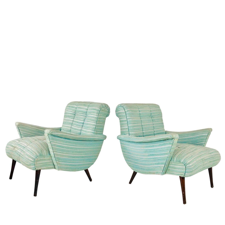Terrific Pair Of Seafoam Green Midcentury Lounge Chairs Interior Design Ideas Ghosoteloinfo