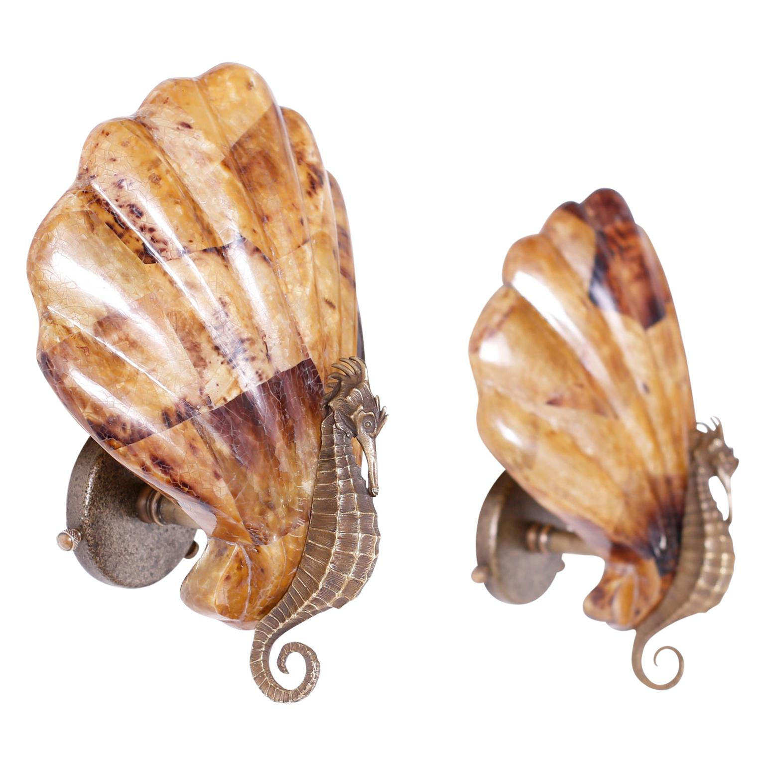 Pair of Seahorse and Penshell Wall Sconces