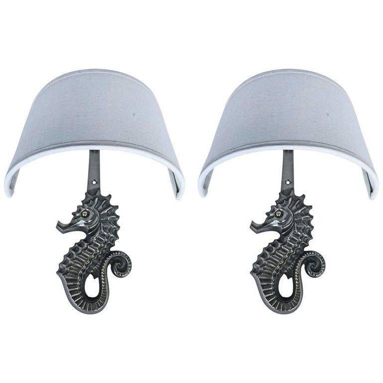 Pair of Seahorse Sconces by Guillemard For Sale