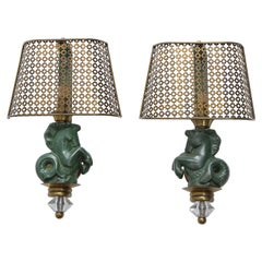 Pair of Seahorse Sconces in Ceramic and Brass by Hasselbur, France, 1960