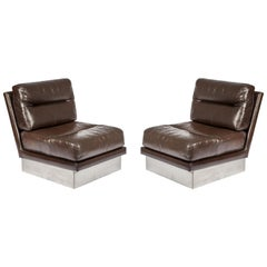 Pair of Seat in Brown Leather and Stainless Steel by Jacques Charpentier