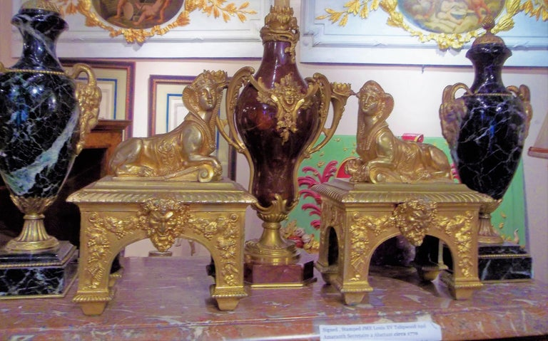 Pair of Second Empire Ormolu or Gilt Bronze Sphinx on Bacchus Mask Plinths 6
