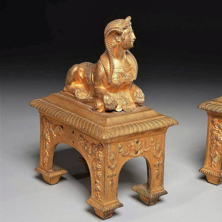 French Pair of Second Empire Ormolu or Gilt Bronze Sphinx on Bacchus Mask Plinths