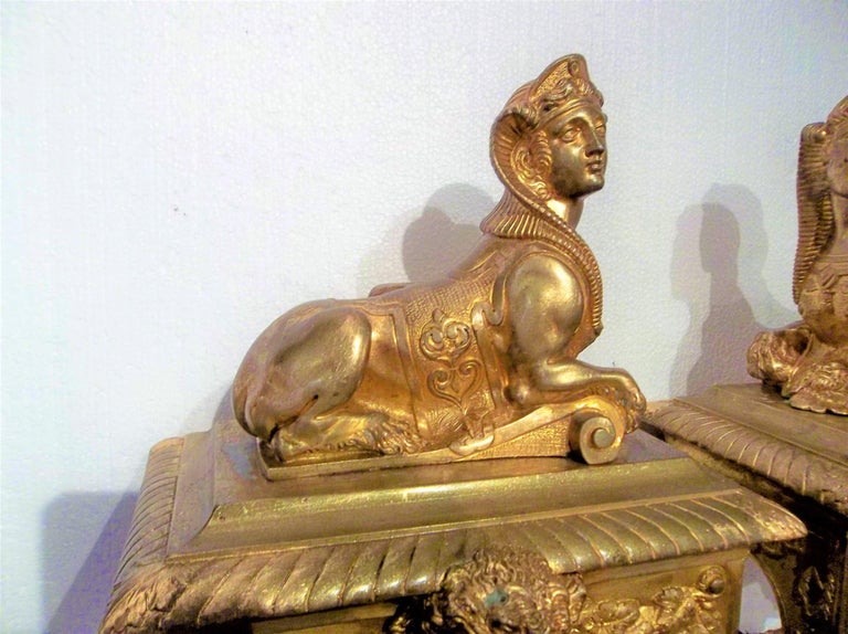 Pair of Second Empire Ormolu or Gilt Bronze Sphinx on Bacchus Mask Plinths In Good Condition In Nashville, TN