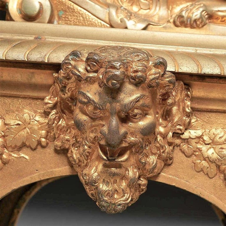 Pair of Second Empire Ormolu or Gilt Bronze Sphinx on Bacchus Mask Plinths 1