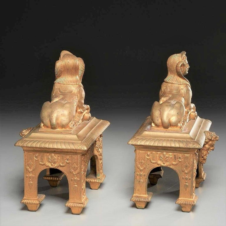 Pair of Second Empire Ormolu or Gilt Bronze Sphinx on Bacchus Mask Plinths 3