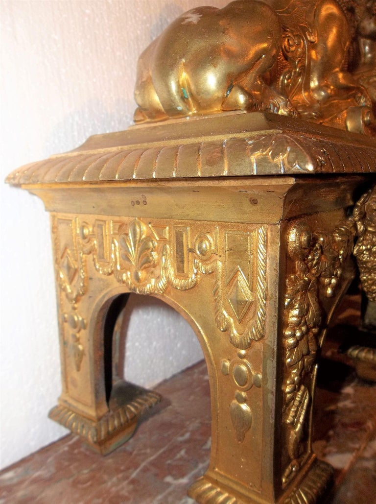 Pair of Second Empire Ormolu or Gilt Bronze Sphinx on Bacchus Mask Plinths 4