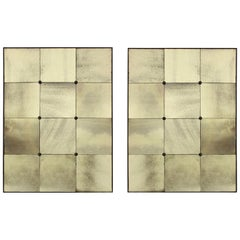 Pair of Sectional Wall Mirrors in Antiqued Glass