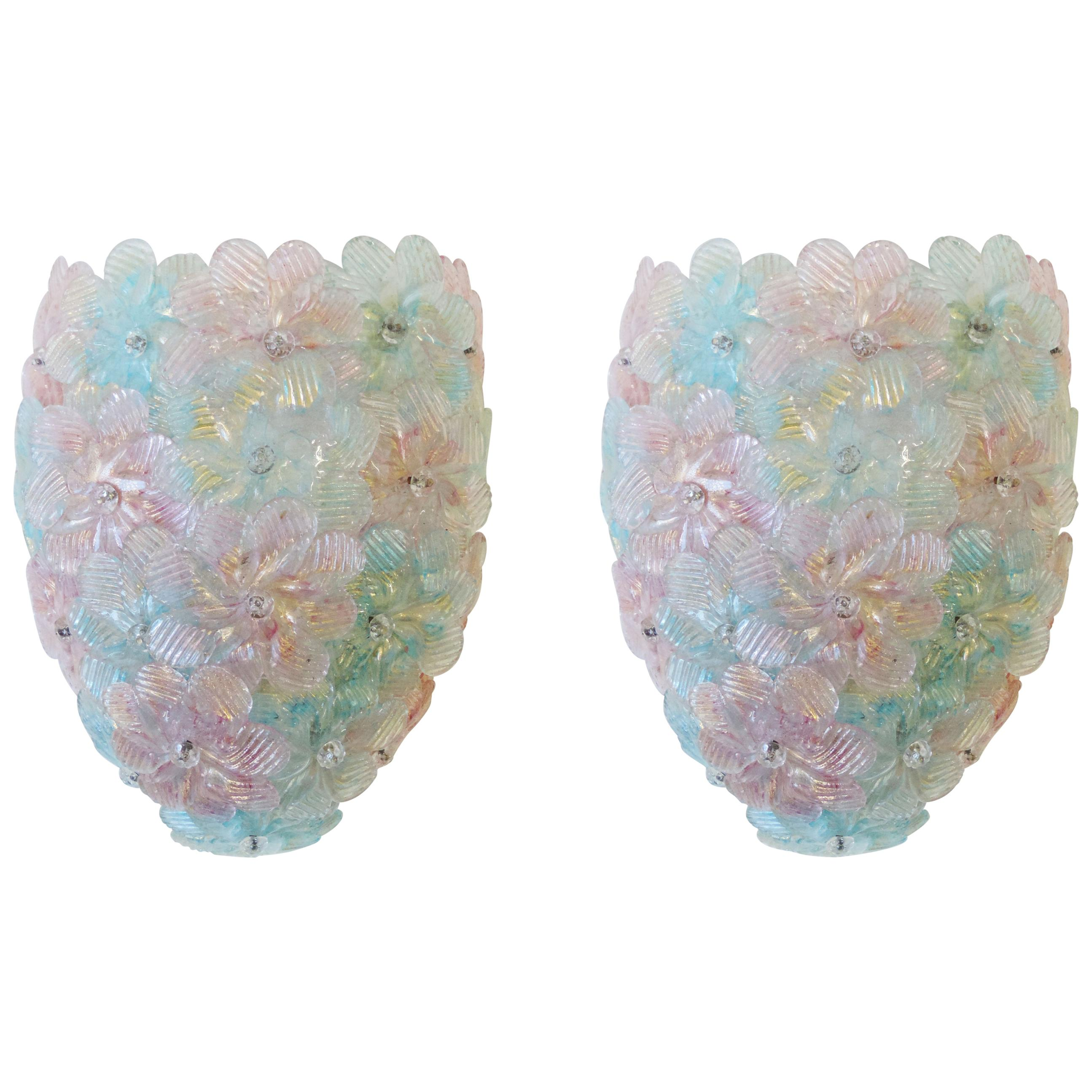Pair of Seguso 1960s Murano Glass Flowers Wall lamps