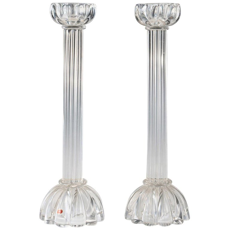 Pair of Seguso Candlesticks 2 by John Loring of Tiffany & Co. For Sale