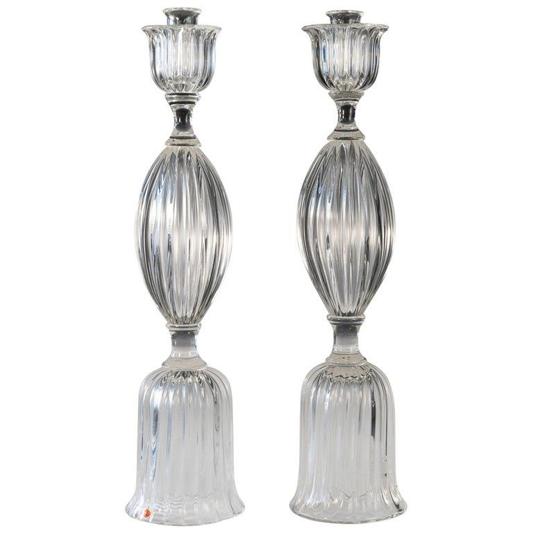 Pair of Seguso Candlesticks 3 by John Loring of Tiffany & Co. For Sale