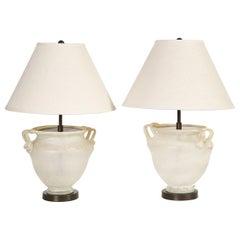 Pair of Seguso Glass Lamps
