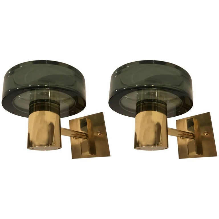 Pair of Seguso Murano 1960s Glass Wall Lights For Sale