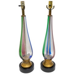 Pair of Seguso Murano Glass Lamps for Marbro Lamps
