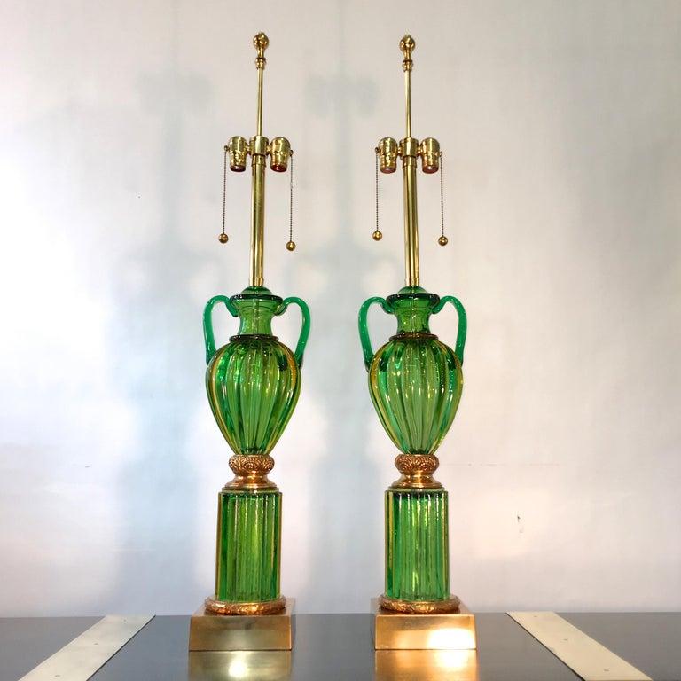 Pair of Seguso Murano Green Glass
